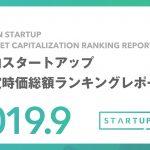 国内スタートアップ想定時価総額ランキングレポート(2019年9月)
